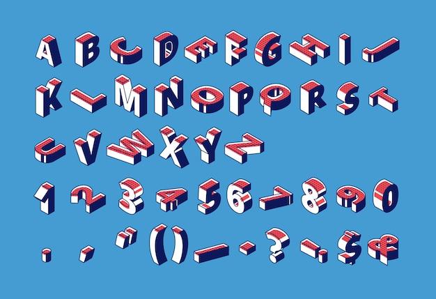 Izometryczny alfabet, cyfry i znaki interpunkcyjne z kropkowanymi wzorami stojącymi i leżącymi na surowo na niebiesko. Darmowych Wektorów