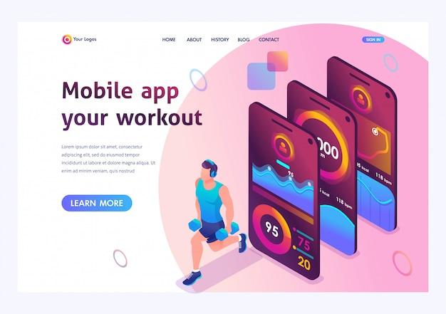 Izometryczny Aplikacja Mobilna śledzi Trening Danej Osoby. Sportowiec Trenuje Główne Grupy Mięśni. Premium Wektorów
