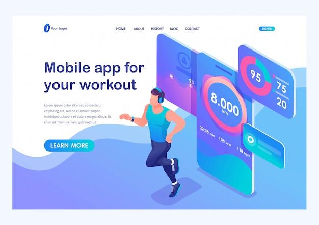 Izometryczny aplikacja mobilna śledzi trening mężczyzny. sportowiec do biegania, słuchawki dresowe. Premium Wektorów