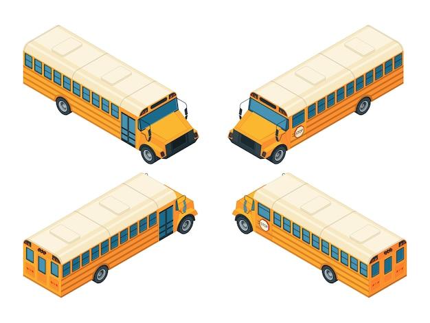 Izometryczny autobus szkolny. różne widoki szkolnego autobusu Premium Wektorów