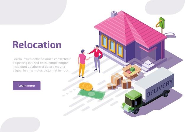 Izometryczny Baner Internetowy Lub Strona Docelowa Relokacji. Darmowych Wektorów