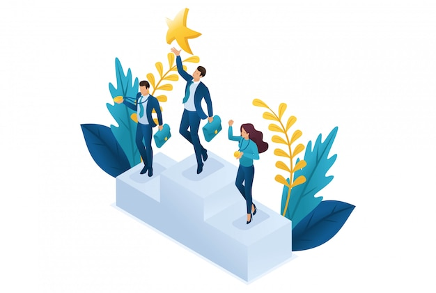 Izometryczny Biznesmen Sięgający Marzeń, Osiągający Cele, Odnoszący Sukcesy. Premium Wektorów