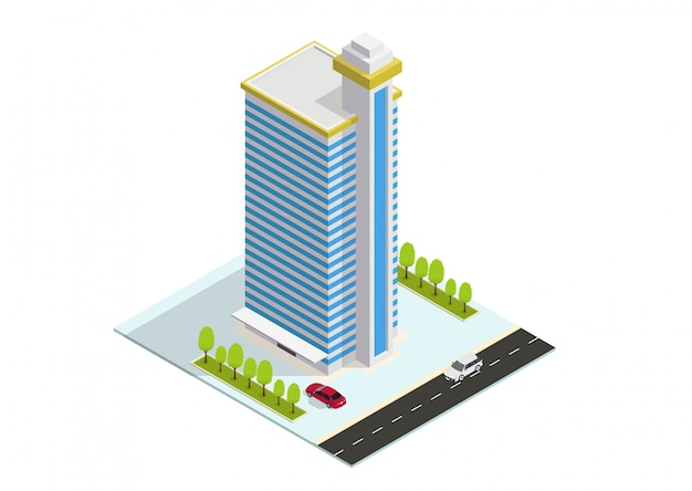 Izometryczny budynek hotelu, apartamentu lub wieżowca Premium Wektorów