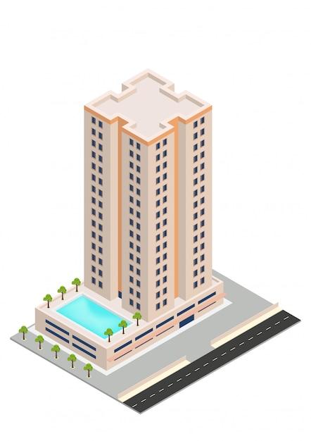Izometryczny budynek hotelu lub wieżowca Premium Wektorów