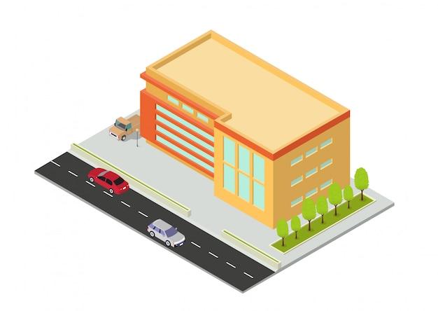 Izometryczny Budynek Hotelu, Mieszkania, Szkoły Lub Wieżowca Premium Wektorów