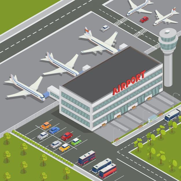 Izometryczny budynek lotniska. terminal lotniskowy z samolotami. travel air. samolot pasażerski. ilustracji wektorowych Premium Wektorów