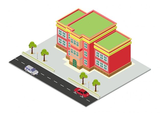 Izometryczny Budynek Szkoły Premium Wektorów