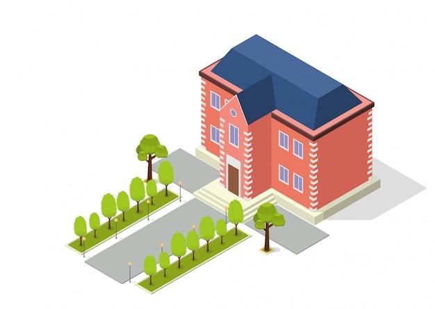 Izometryczny Budynek Z Drogą I Drzewami Premium Wektorów