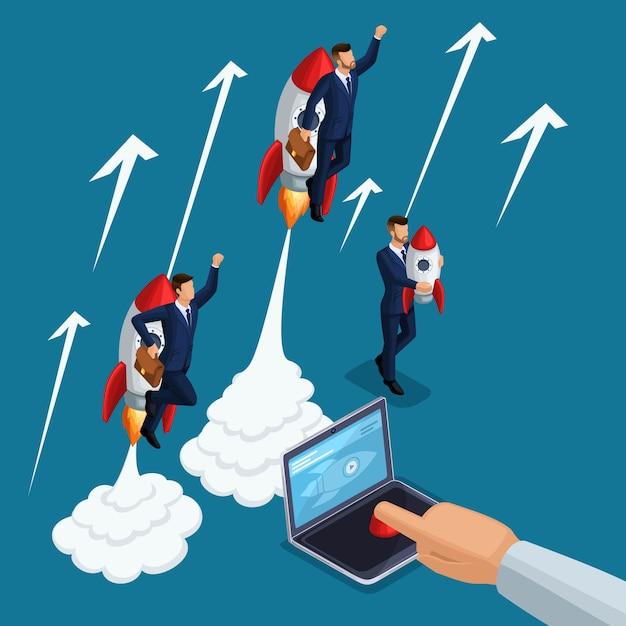Izometryczny Człowiek Osoby, Start-up 3d, Prasy Ręczne Przycisk Start Laptop, Start Młodych Biznesmenów, Rakieta, Rozwój I Uruchomienie Biznesu, Koncepcja Biznesowa Premium Wektorów