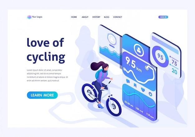 Izometryczny dla strony docelowej na ten temat, jak jazda na rowerze, jazda na rowerze z aplikacją mobilną. Premium Wektorów
