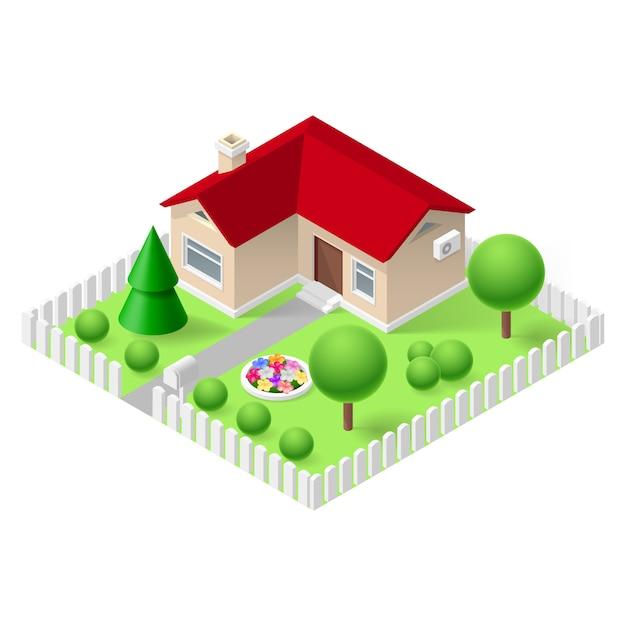 Izometryczny Dom Premium Wektorów
