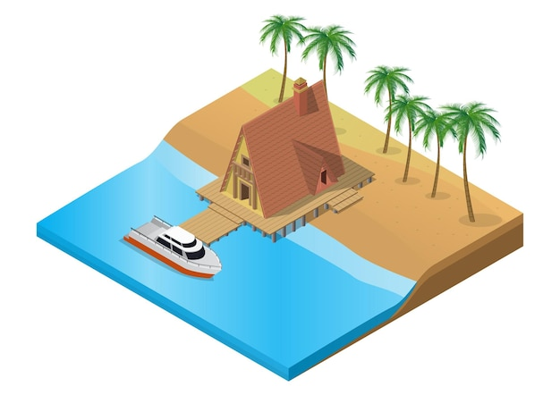 Izometryczny Drewniany Tropikalny Ośrodek Z łodzią Na Wodzie Premium Wektorów