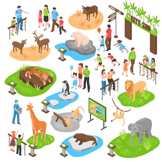 Izometryczny Duży Zestaw Zoo Darmowych Wektorów