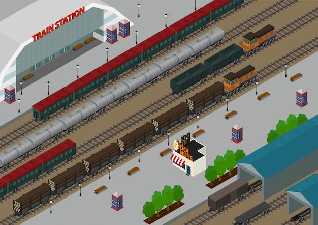 Izometryczny Dworzec Kolejowy Premium Wektorów