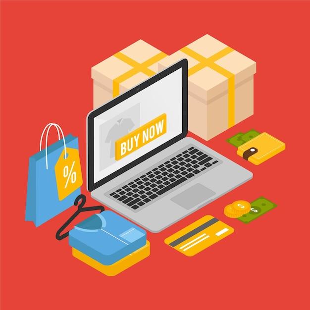Izometryczny E-commerce - Koncepcja Darmowych Wektorów
