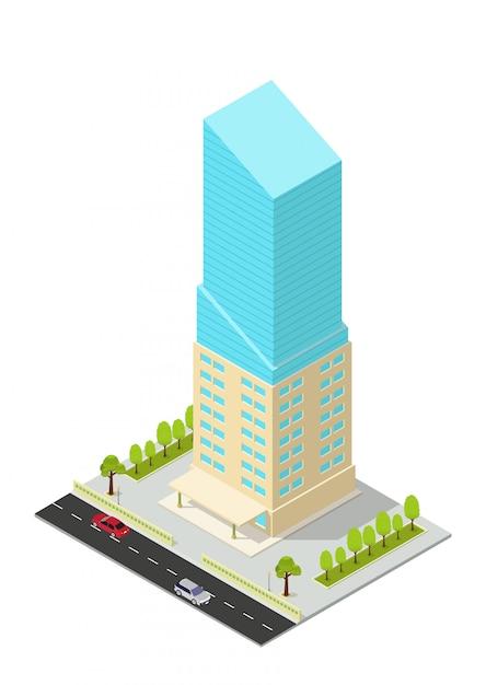 Izometryczny Hotel, Apartament, Biuro Lub Wieżowiec Premium Wektorów