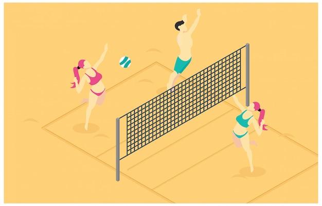 Izometryczny ilustracja gry siatkówki plażowej Premium Wektorów