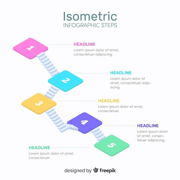 Izometryczny infografika kroki szablon Darmowych Wektorów