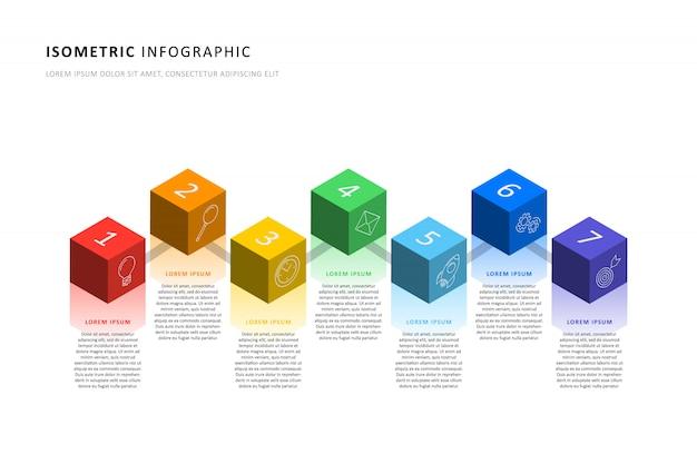 Izometryczny Infographic Osi Czasu Szablon Z Realistycznymi 3d Elementami Sześciennymi. Premium Wektorów