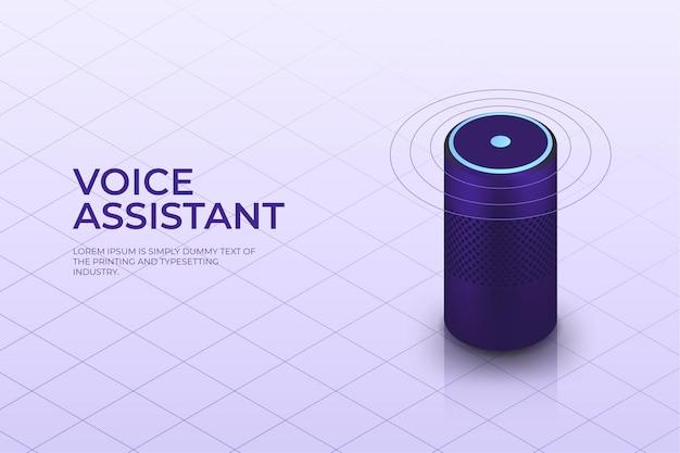 Izometryczny Inteligentny Głośnik Z Asystentem Głosowym Premium Wektorów