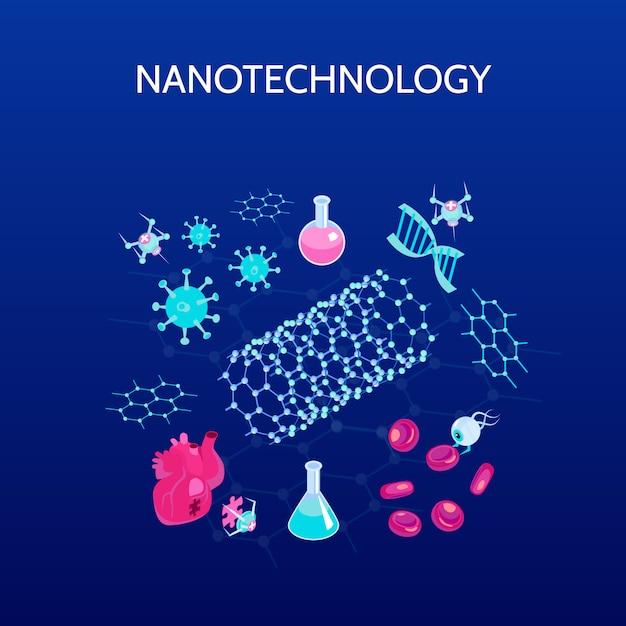 Izometryczny Kolor Nanotechnologii Z Symbolami Nauki Na Białym Tle Darmowych Wektorów