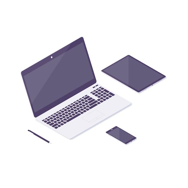 Izometryczny Komputer Laptop Tablet Ilustracja Premium Wektorów