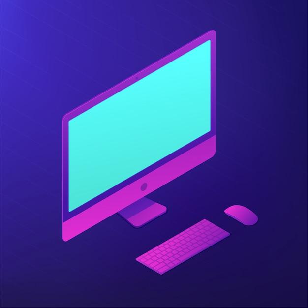 Izometryczny Komputer Osobisty. 3d Ilustracji. Premium Wektorów
