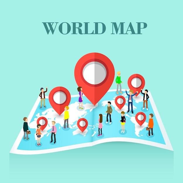 Izometryczny Koncepcji Mapy świata Premium Wektorów