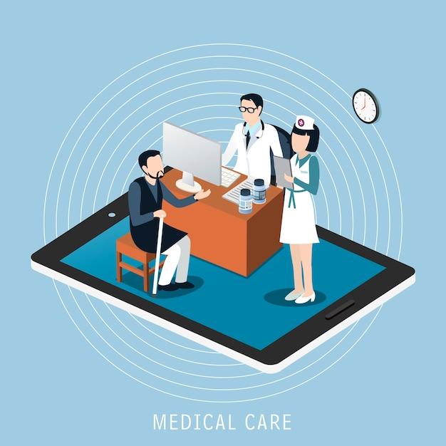 Izometryczny Koncepcji Opieki Medycznej Premium Wektorów