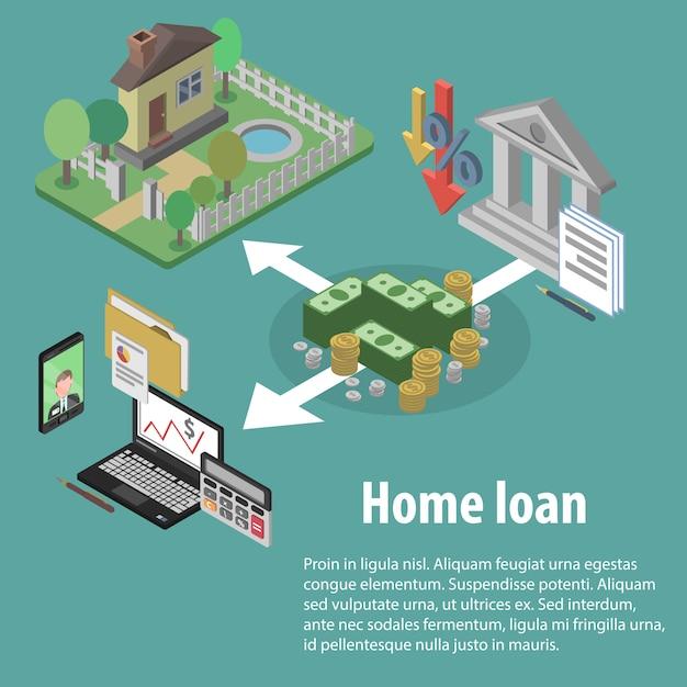 Izometryczny kredyt bankowy Darmowych Wektorów