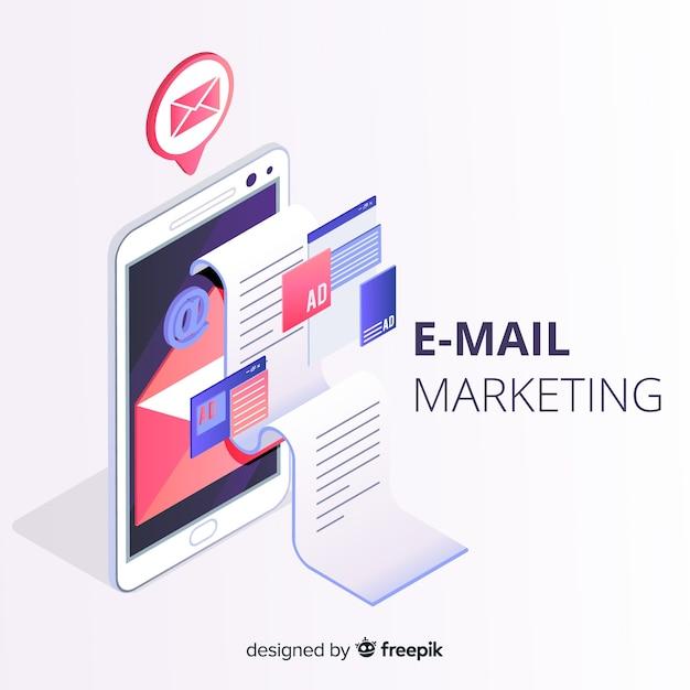 Izometryczny marketing e-mail Darmowych Wektorów