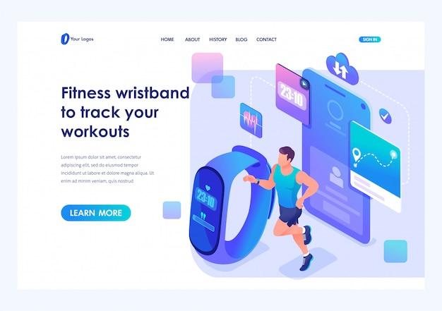 Izometryczny mężczyzna biegnie za pomocą bransoletki fitness i śledzi swoje treningi. szablon strony docelowej witryny Premium Wektorów