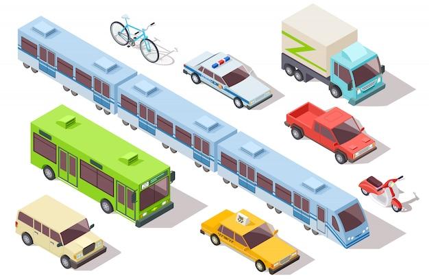 Izometryczny miejski transport publiczny. metro, autobus, karetka pogotowia, taksówka i radiowóz, ciężarówka, motocykl, rower. zestaw pojazdów 3d Premium Wektorów