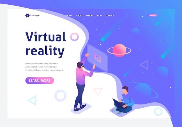 Izometryczny młody człowiek prowadzi wirtualną rzeczywistość za pomocą wirtualnych okularów Premium Wektorów