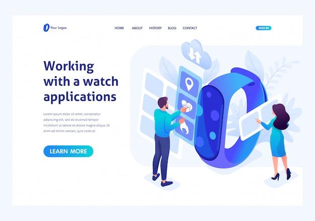 Izometryczny młodych ludzi pracujących z aplikacjami do zegarków. szablon strony docelowej witryny Premium Wektorów