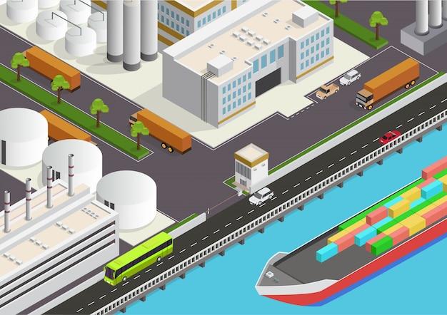 Izometryczny obszar przemysłowy z widokiem na morze i statek towarowy Premium Wektorów
