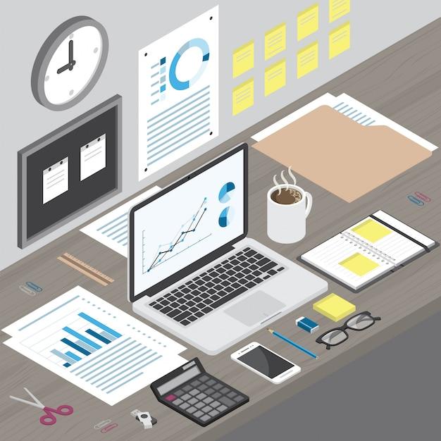 Izometryczny obszar roboczy laptopa i materiały biurowe na drewniane biurko Premium Wektorów