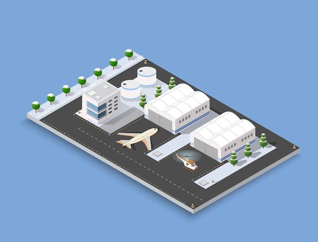 Izometryczny pas startowy 3d Premium Wektorów