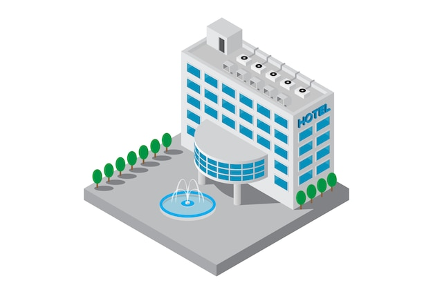 Izometryczny pięciogwiazdkowy hotel budynku wektor Premium Wektorów