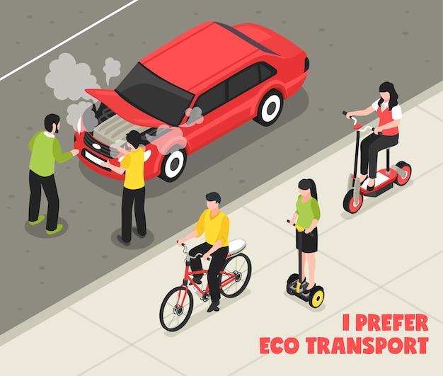 Izometryczny Plakat Transportu Ekologicznego Z Osobami Jadącymi Na Skuterach Segway Obok Maszyny Do Palenia Darmowych Wektorów