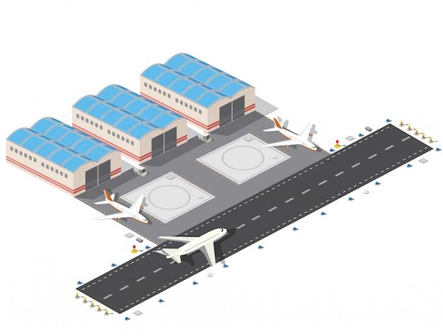Izometryczny plan lotniska w mieście, lot budowy i budowy, terminal Premium Wektorów