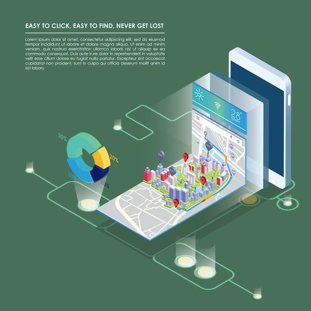 Izometryczny Plan Z Budynków Na Inteligentny Telefon I Mapę Na Aplikacji Mobilnej. Premium Wektorów