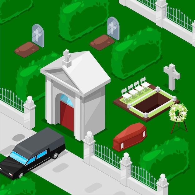 Izometryczny pogrzeb i cmentarz izometryczny Premium Wektorów