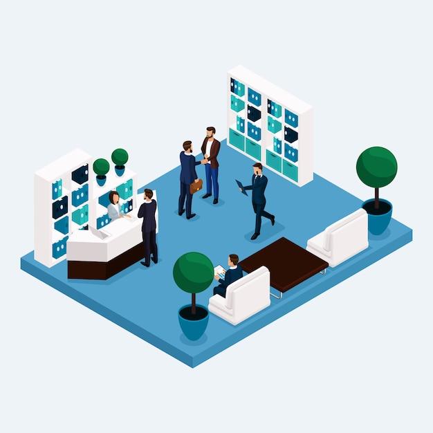 Izometryczny Pokój Multistoried Pracowników Biurowych 3d Mężczyzn I Kobiet W Holu W Recepcji Na Białym Tle Premium Wektorów
