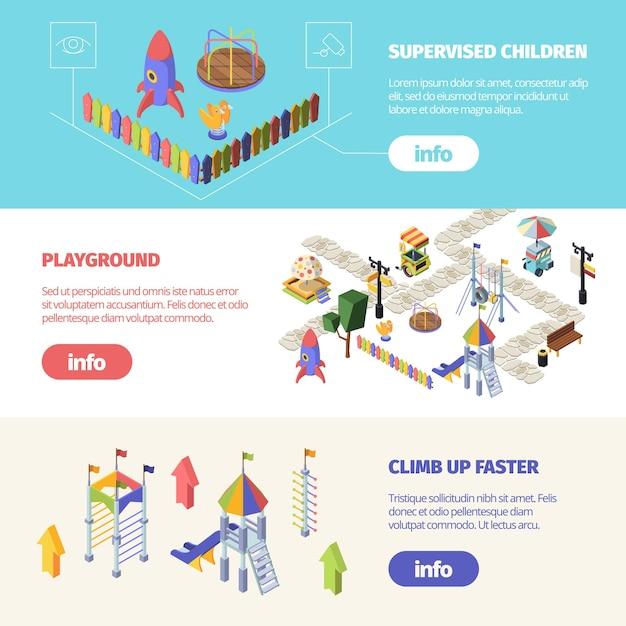Izometryczny Poziomy Baner Atrakcji Dla Dzieci Premium Wektorów
