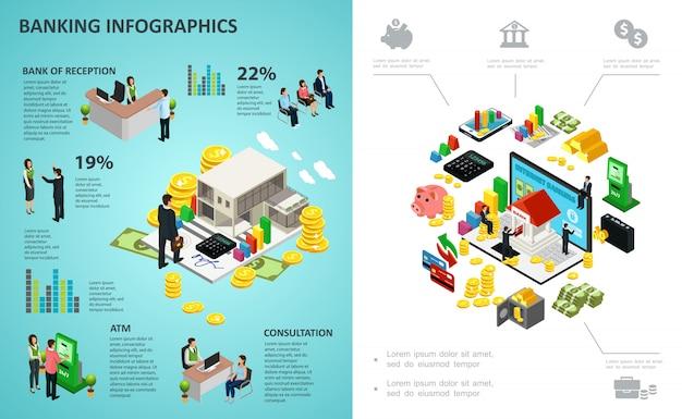 Izometryczny Proces Bankowy Infografika Z Płatnościami Online Pieniądze Monety Złote Sztabki Kalkulator Klienci Pracownicy Banku Darmowych Wektorów