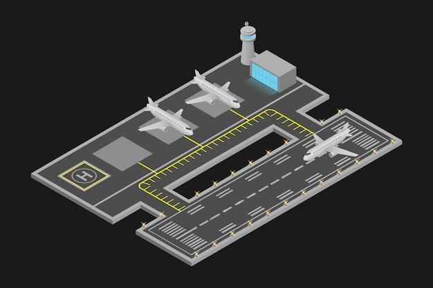Izometryczny projekt lotniska Premium Wektorów