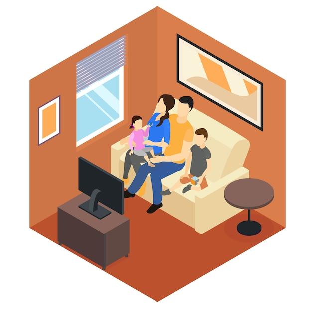 Izometryczny Projekt Rodziny W Domu Darmowych Wektorów