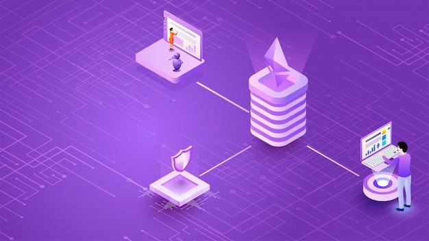 Izometryczny Projekt Wirtualnej Platformy Wymiany Walut. Premium Wektorów