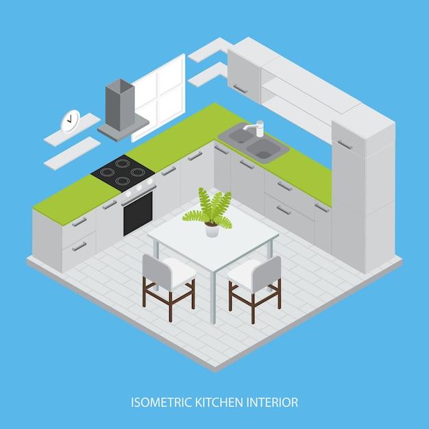 Izometryczny Projekt Wnętrza Kuchni Z Szarymi Szafkami Zielona Powierzchnia Robocza Krzesła Stołowe Ilustracji Wektorowych Darmowych Wektorów